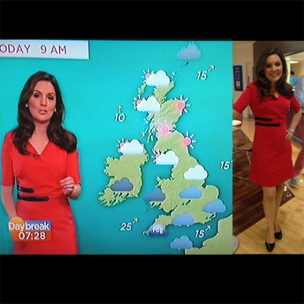 Laura tobin wearing red dress on itv