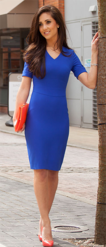 blue petite dress work