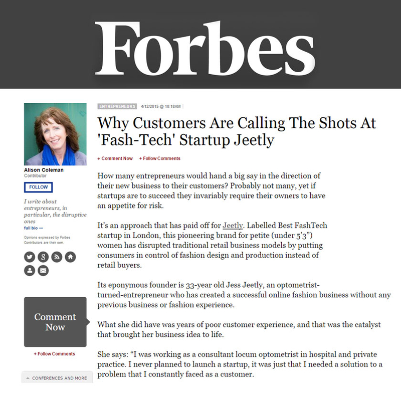 jeetly the petite clothing brand in forbes magazine