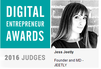 Jess presenting digital entrepreneurs awards 2016