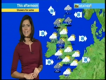 Lucy Verasamy wearing a petite burgundy Victoria dress by Jeetly on ITV's national weather
