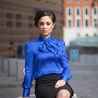 Petite blue pussybow blouse