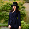 Petite navy wrap front jacket