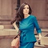Petite teal peplum dress