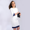 Petite white dress blue trim