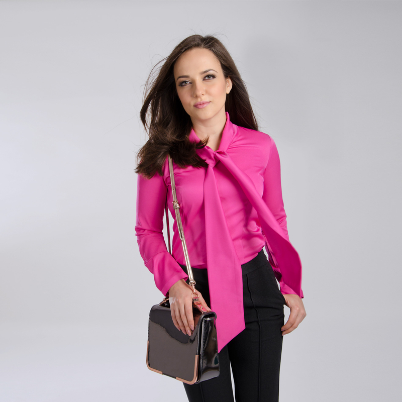 pussy bow blouse pink shirt top for women