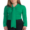 Petite green pussybow blouse
