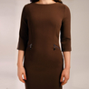 Petite brown fitted shift dress