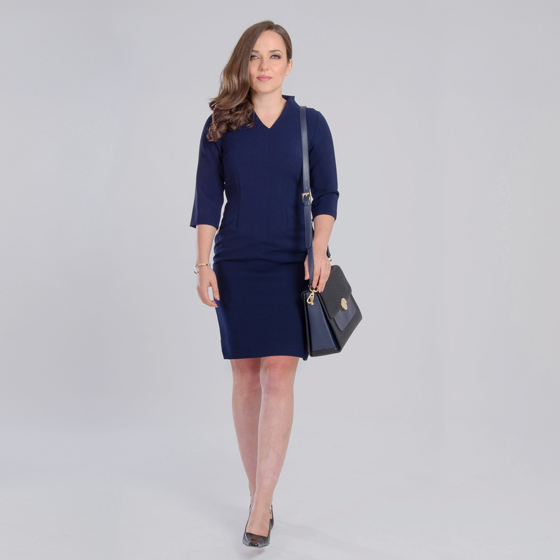 petite navy dress for work
