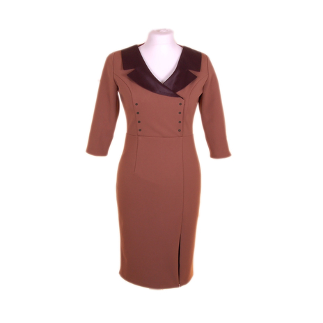 Military-style taupe dress