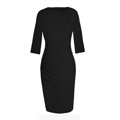 Petite black ruched dress