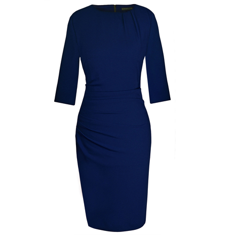 Petite navy ruched dress