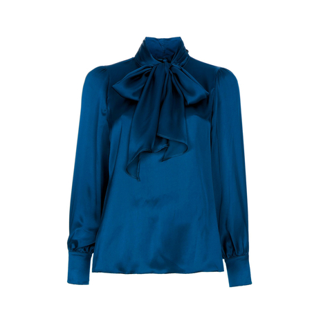 Blue Pussy-bow blouse