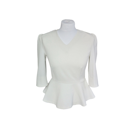 White petite peplum top Jeetly