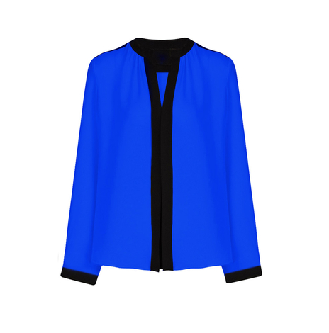 Blue Blouse with Trim