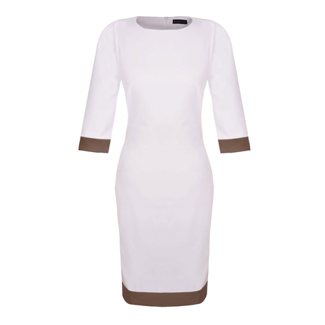 Petite white dress brown trim