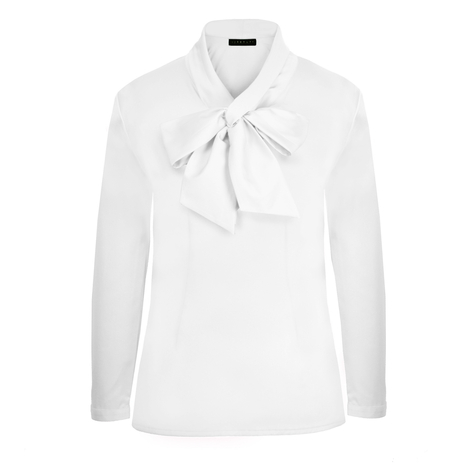 Petite white pussybow blouse