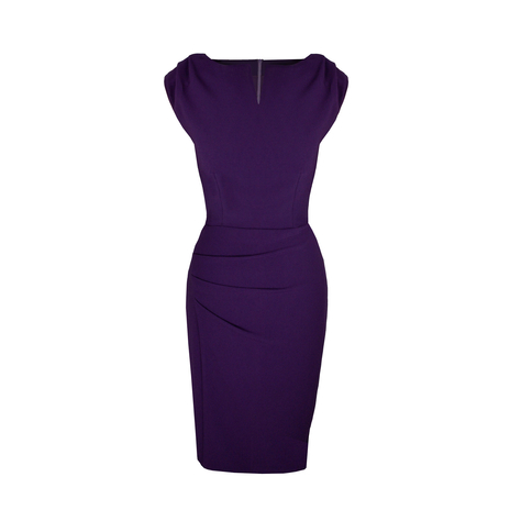 Petite purple pleat detail dress