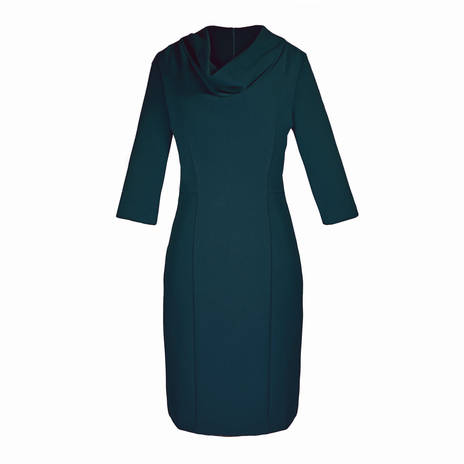 Petite green cowl neck dress