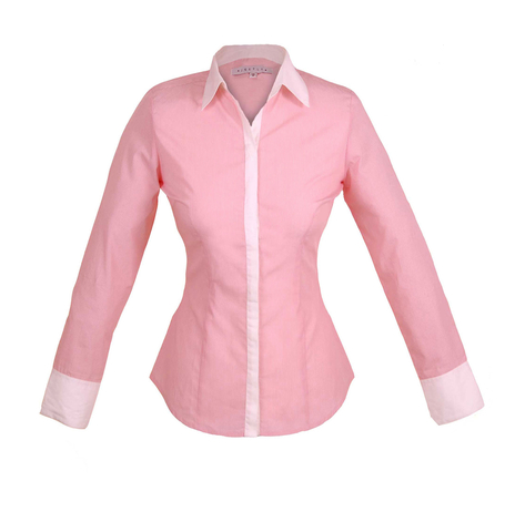 Petite pink striped shirt