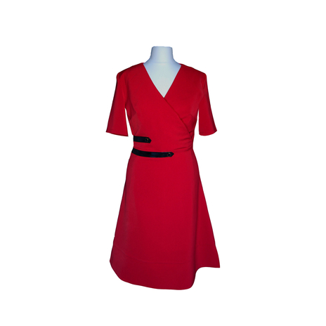 Wrap front A-line red dress