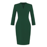 V neck Green Shift Dress
